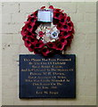 SK1109 : Poppy wreath and plaque under Lichfield City railway station by Jaggery