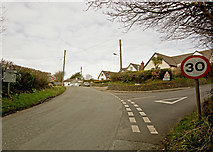 SS2214 : A road junction on the outskirts of Shop by Roger A Smith