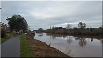 SO8453 : Cycle path by the river by Peter Mackenzie
