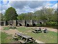 SX1059 : Picnic area by Lostwithiel Old Bridge by Eirian Evans