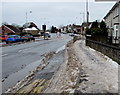 ST3090 : Clear main road, snowy pavement, Malpas Road, Newport by Jaggery