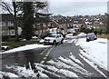 ST3090 : Snow remnants at a Malpas junction, Newport by Jaggery