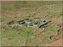 SJ0730 : Sheepfolds in the valley of the Nant y Llyn by Richard Law