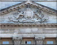 TQ2979 : Buckingham Palace: tympanum by Rudi Winter