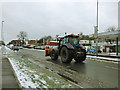 SE2334 : Tractor with snowplough, Stanningley Road, Bramley by Stephen Craven