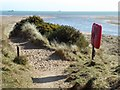 NJ9509 : Path through dunes at Donmouth by Stanley Howe