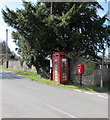 ST4496 : Queen Elizabeth II postbox and a Grade II listed phonebox in Gaerllwyd, Monmouthshire by Jaggery