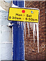 NT4936 : A frozen parking restriction sign by Walter Baxter