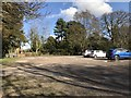 SJ7744 : Car park opposite church, Madeley by Jonathan Hutchins
