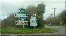 SW9571 : Signs at Hal's Grave by Derek Harper