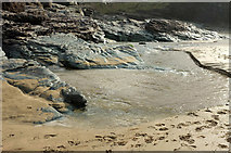SX0486 : Stream on the beach, Trebarwith Strand by Derek Harper