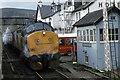 NH1658 : Trains passing at Achnasheen by Ian Taylor