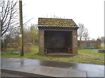 TL9296 : Bus shelter on School Road, Thompson by David Howard