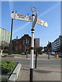 SJ8989 : Fingerpost in Wellington Road, Stockport (2) by John S Turner