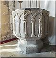 SK7987 : Font, St Martin's church, Bole by Julian P Guffogg