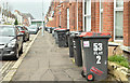 J3372 : Wheelie bins, Wellesley Avenue, Belfast (April 2018) by Albert Bridge