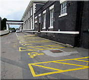 SO8555 : Yellow markings on Shrub Hill, Worcester by Jaggery
