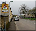 ST3188 : Warning sign - narrower road for 260 yards, Evans Street, Newport  by Jaggery