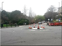 SZ0891 : Bournemouth: traffic cones gather on a mini-roundabout by Chris Downer