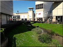 TL0506 : The River Gade through Riverside Centre, Hemel Hempstead by Chris Brown