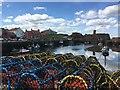 NT6779 : Piles of Coloured Creels at Victoria Harbour Dunbar : Week 17 winner
