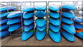 TL3700 : Kayaks at White Water Rafting Centre by Christine Matthews