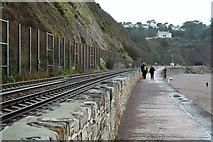 SX9574 : South West Coast Path on South Devon Railway Seawall by N Chadwick