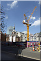 TQ3280 : Crane, Bank station construction site by Robin Webster