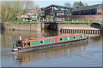 SO8453 : Canal narrowboat approaching Diglis Lock by Philip Halling