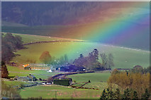 NT3728 : A rainbow at Tinnis Farm in the Yarrow Valley by Walter Baxter