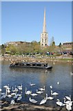 SO8454 : St Andrew's spire viewed across the Severn by Philip Halling