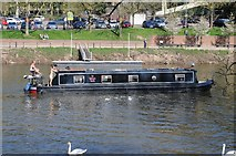 SO8454 : Narrowboat passing through Worcester by Philip Halling