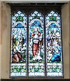 SJ9398 : Stained glass in St Peter's Church by Gerald England
