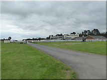 SO4877 : View  to Ludlow Racecourse grandstand by Jeremy Bolwell