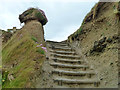 SW5740 : Steps up from the beach by Peter's Point lifeguard lookout by Robin Webster
