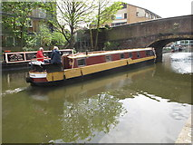 "TQ3283 : ""Tintagel"" narrowboat goes under Wharf Road bridge by David Hawgood"