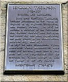 NZ1164 : Plaque for Benjamin Thompson, Wylam Railway Station by Andrew Curtis