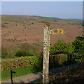 SO0646 : Footpath sign by lane with view across the Wye valley by Andrew Hill