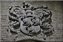SO3958 : Pembridge, St. Mary the Virgin Church: The large plaster Coningsby family coat of arms by Michael Garlick