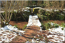 SX8963 : Footbridge over Cockington Stream in the snow by Derek Harper