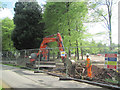SP8809 : At work at the new entrance barrier in Wendover Woods by Chris Reynolds