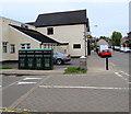 ST1596 : Four recycling bins on a High Street corner, Fleur De Lis by Jaggery