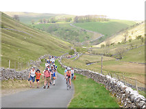 SD9773 : Tour de Yorkshire - returning spectators on foot by Stephen Craven