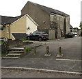 ST1596 : Ivor Street steps and concrete posts, Fleur-de-lis by Jaggery