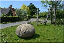 SU2913 : Small triangular green with boulder, Cadnam by David Martin