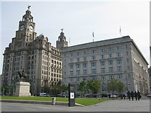 SJ3390 : Royal Liver Building, Cunard Building and Monument of Edward VII, Liverpool by G Laird