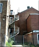 TG2407 : ATB Laurence Scott Ltd - fire exit steps by Evelyn Simak