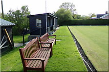 TM3569 : Seats at Peasenhall & Sibton Bowling Green by Geographer