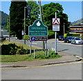 ST2291 : Crosskeys boundary sign near Waunfawr Park by Jaggery