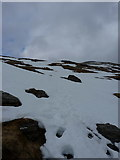 NN3240 : Snow-covered path climbing into Coire Reidh by Richard Law